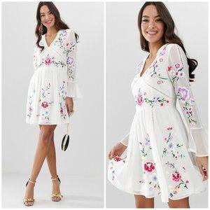 Asos Design floral embroidered mini dress